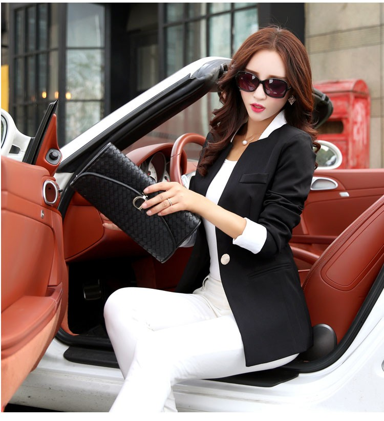 Autumn Spring Chic Office Ladies Stand Collar Blazers Pink Black Jackets For Gentle Women Silm Business Casual Wear Jaqueta Feminina d