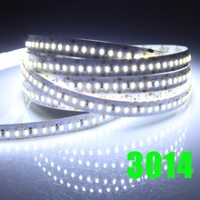 New 204LEDs/m high brightness LED Strip SMD 3014 12V 5m flexible led light 1020leds pure White/Warm White strip free shipping