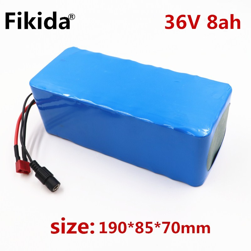 New Fikida Battery pack 36V 8ah 500W 18650 lithium battery 36V 8AH Electric bike battery with PVC case for electric bicycle hot sale bottom discharge electric bike 36v 8ah li ion battery 36v 8ah electric bicycle silver fish battery with charger bms