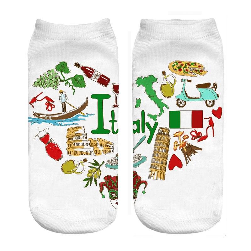 Italy Love Print Polyester Socks Wholesales