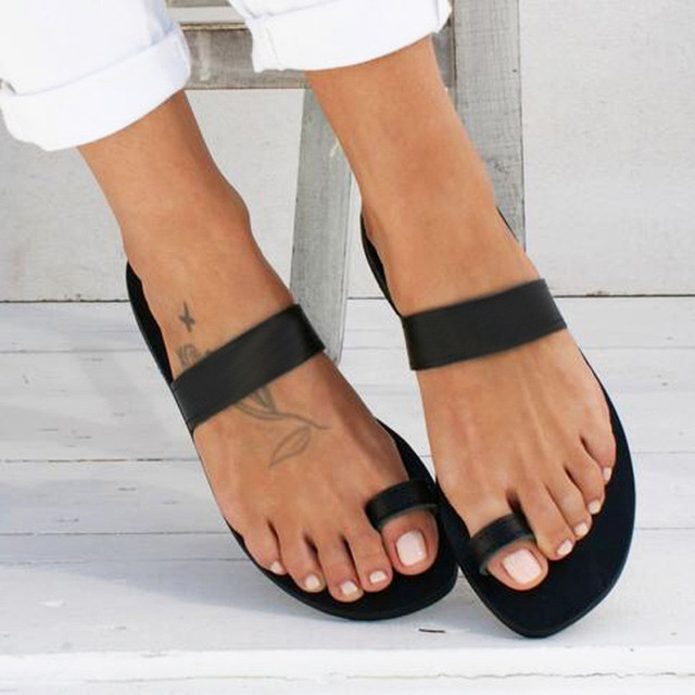 2019 Women's Slippers Spring Summer Beach Casual Shoes Ladies Solid Flat Heel Slippers Beach Slides Roman Leather Flip Flops Hot