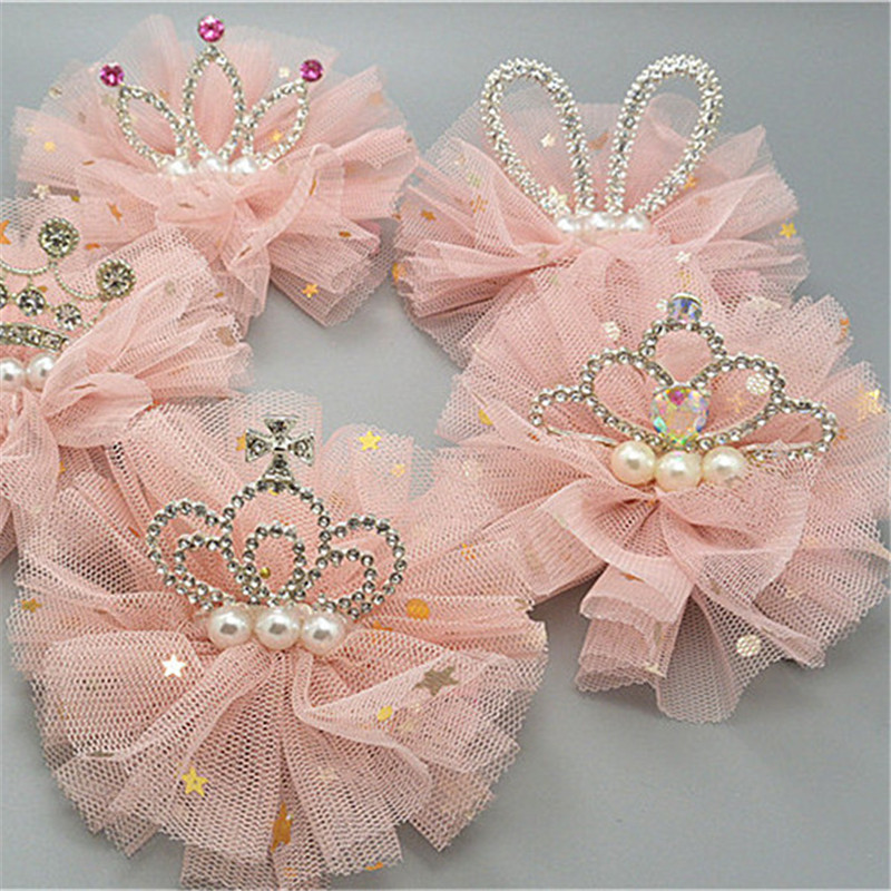Shiny Crown Hairpin Lace Glitter Star Baby Girls Princess Headwear Hair Clip Children Kids Beauty Headdress Gift