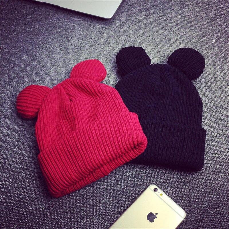 LNRRABC Unisex Women Men Warm Winter Cat Ear Hat Elastic Wool Braided Beanie Knitted Caps Gift lnrrabc winter skullies