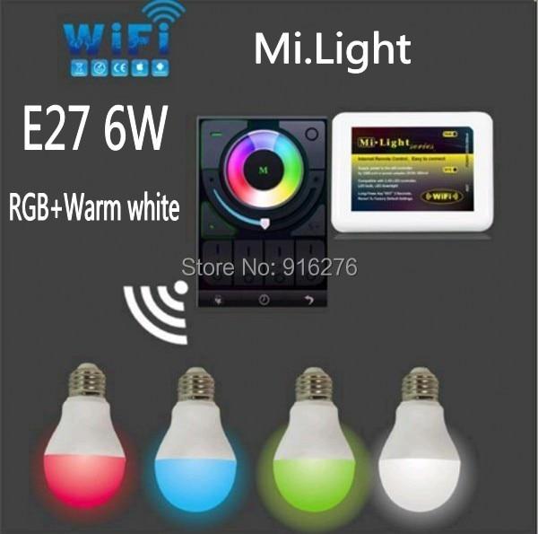 Mi Light E27 6W Wi Fi RGBW (RGB+Warm white ) LED Bulb Dimmable Lamp Wireless 2.4G Wifi controller ibox