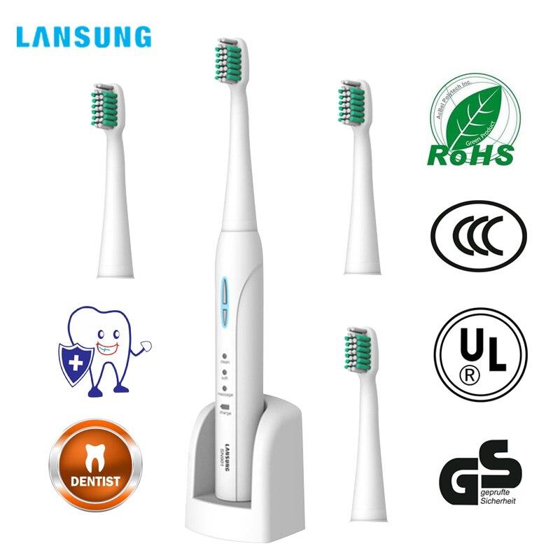 LANSUNG Sans Fil Rechargeable Ultra sonic Présenté 4 Brosse À Dents têtes BrushSets Blanchiment Dents sonic Brosse Électrique Brosse À Dents