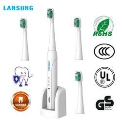 LANSUNG sonic Elektrische Zahnbürste Ultra sonic Erwachsene Automatische Zahnbürste Wiederaufladbare 4 stücke Zahnbürste Köpfe Ersatz Weiß