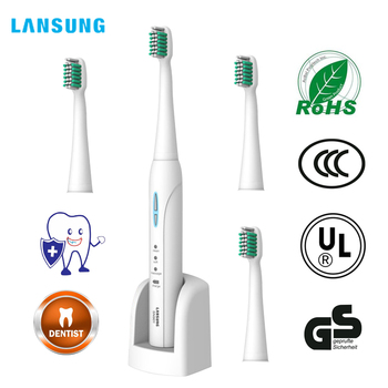 Lansung sonic escova de dentes elétrica ultra sonic adulto escova de dentes automática recarregável 4pcs cabeças substitutos branco