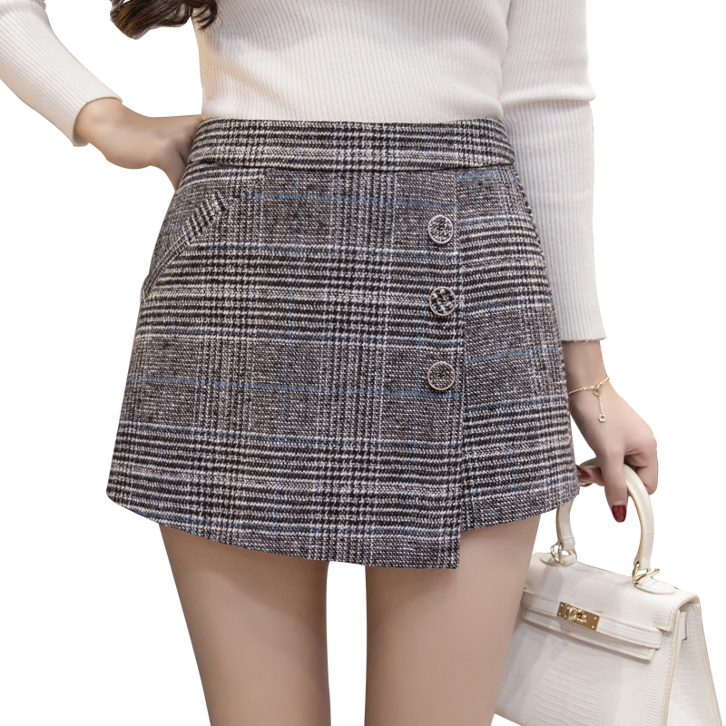 Woolen   short   pants women autumn winter high waist plaid   shorts   skirts elegant wide leg irregular ladies office work   shorts