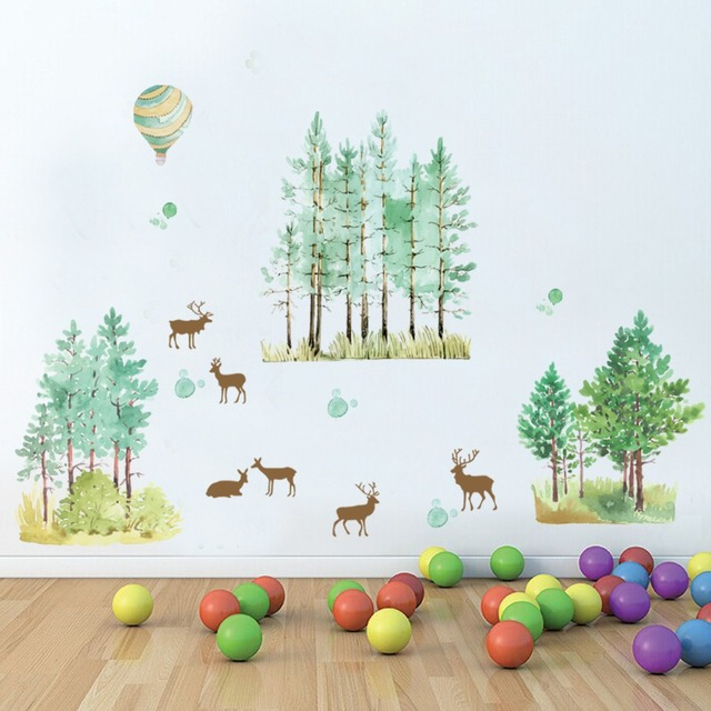 Sika Deer In The Woods Wall Stickers Home Decor Border Decal Forest Hot