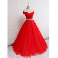 Holievery Beaded Off The Shoulder Long Prom Dress 2019 Red Floor Length Formal Dresses for Gratuating Date Gala Jurken Gowns