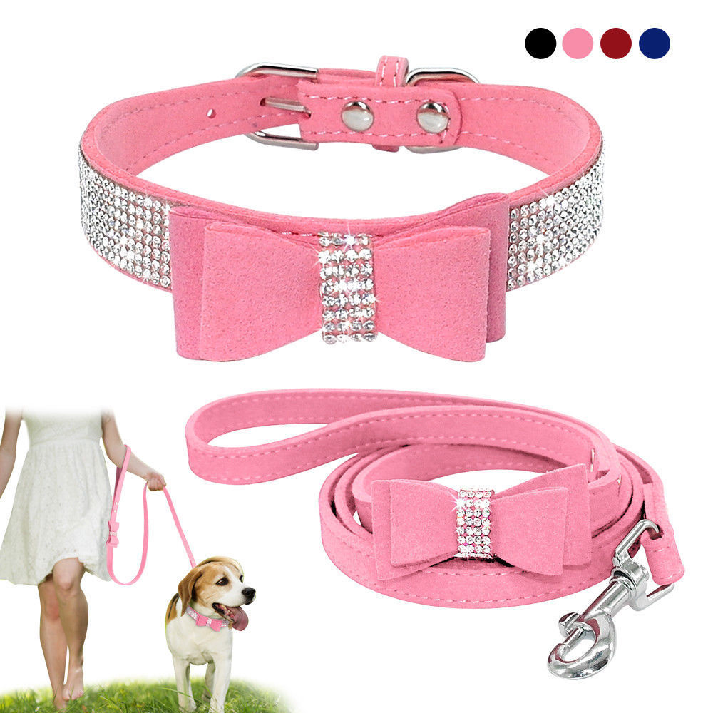 Rhinestone Dog Collar and Leash Soft Suede Bow for Doggie Puppy Cat Small Pet /2