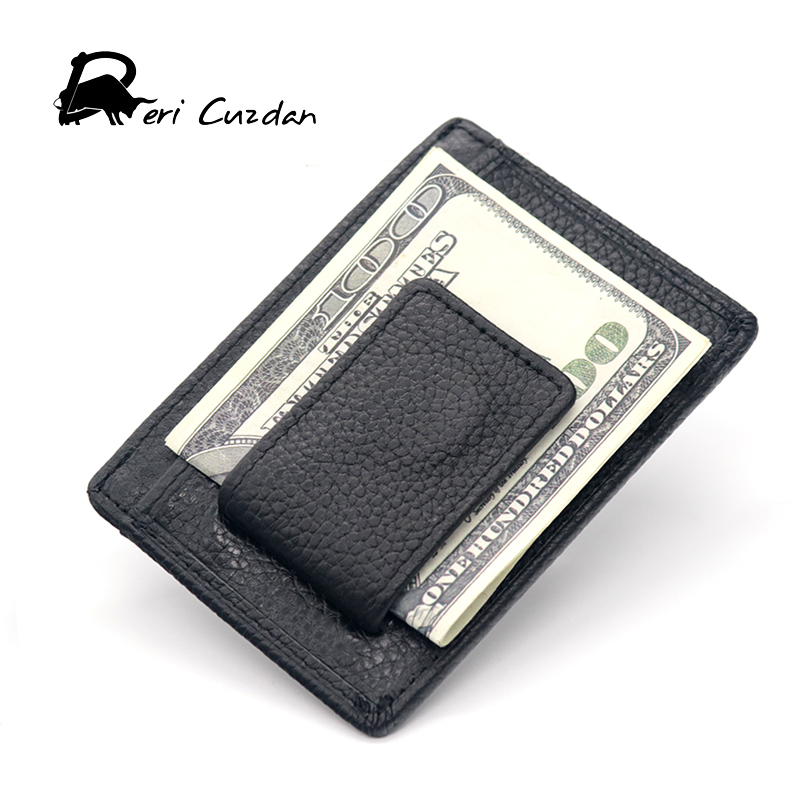 deri cuzdan mens money clips wallet clamp for money holder credit card male genuine leather slim money clip thin bill holder - Mens Money Clip Credit Card Holder