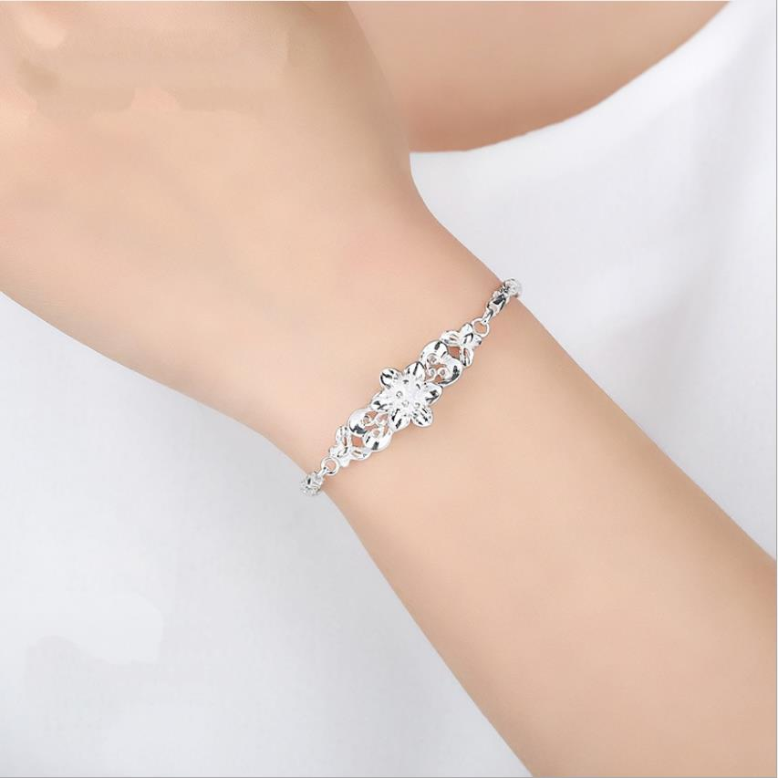 Everoyal Exquisite Flower Carved Bracelets For Women Jewelry Charm Silver 925 Girl Bracelet Accessories Hot Valentines Day Gift