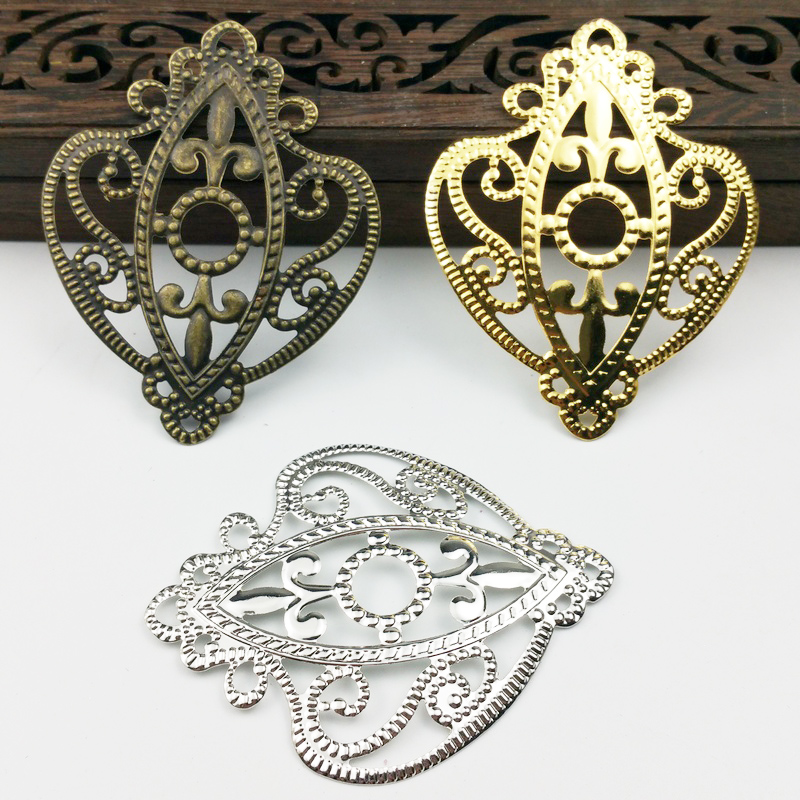 20pieces/lot 65mm Vintage Metal Antique Bronze White K Gold Color Filigree Flowers Slice Charms Setting Jewelry DIY Components