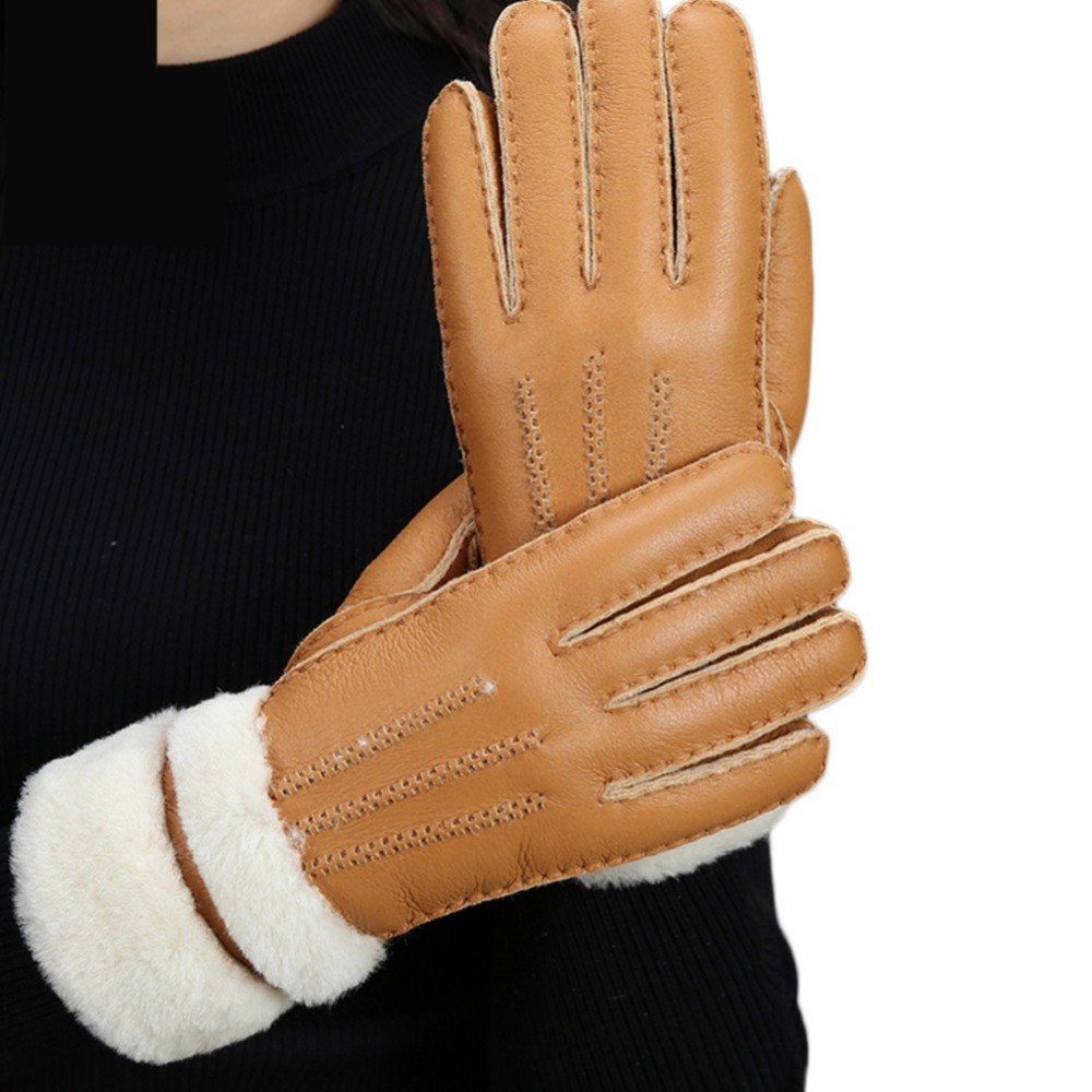 Womens leather gloves with touch screen fingers - 16 Women Girl One Of Fur Leather Soft Touch Screen Smart Fashion Show Dress Warm Winter New Year Gift Girlfriend Gloves Mittens