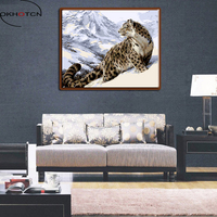 OKHOTCN Framed Leopard DIY Painting By Numbers Hand Painted Oil Canvas Digital Home Decor Wall Art