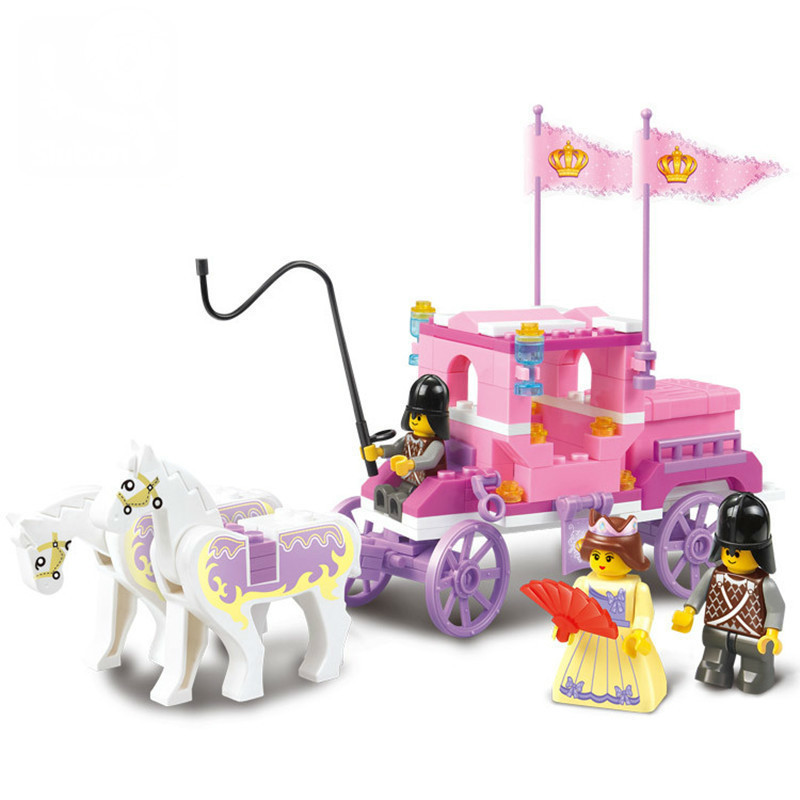 Sluban 137Pcs Building Blocks Girl Dream Princess Royal Carriage wagon action figure playmobil educational toys for children