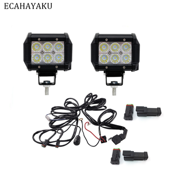 2 Pieces 12v 24v DC Automobile Dual Row 4inch 18W led light bar 1 piece 3 Meter Cable with DT connector for offroad suv trailers