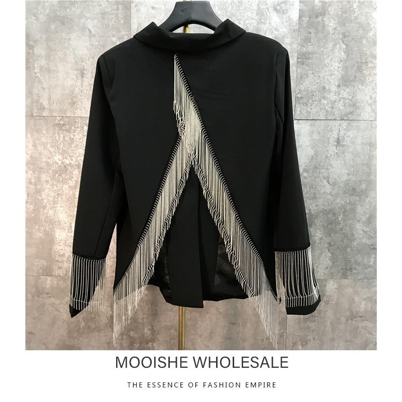 Metal Tassel Chain Design Back Fork OL Women Pink Suit Blazer 2019 Spring New Coat