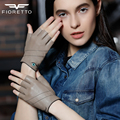 Fioretto Womens Genuine Leather Fingerless Gloves Half Finger Gloves Fashion Breathable Driver Mittens Eyes Embroidery Stripe