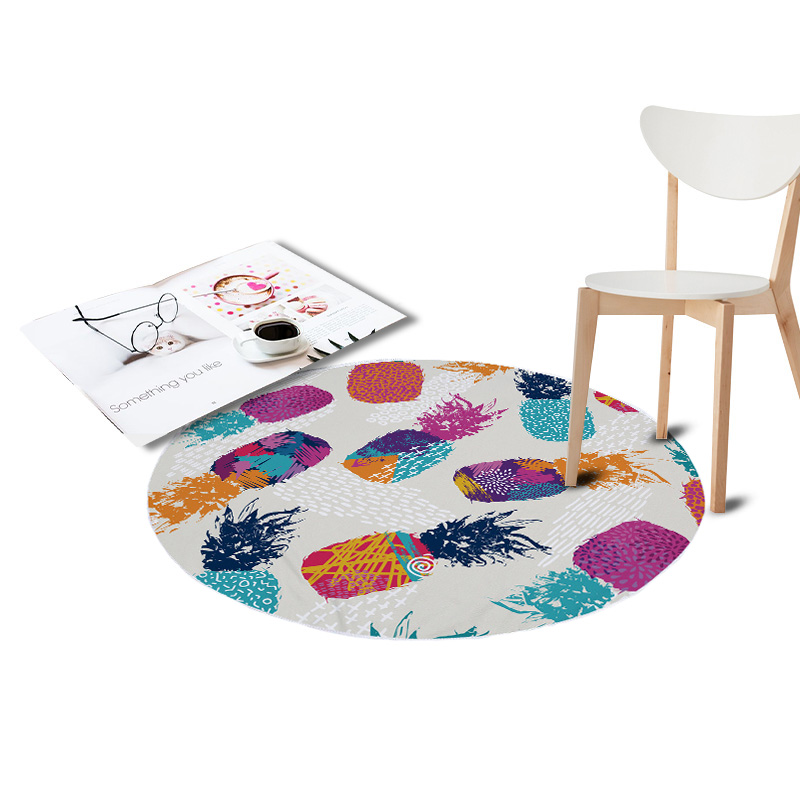 Pineapple Printed Coral Velvet Chair Floor Mats Round Carpets for Living Room Kids Bedroom Play Area Outdoor Rugs Home Textile