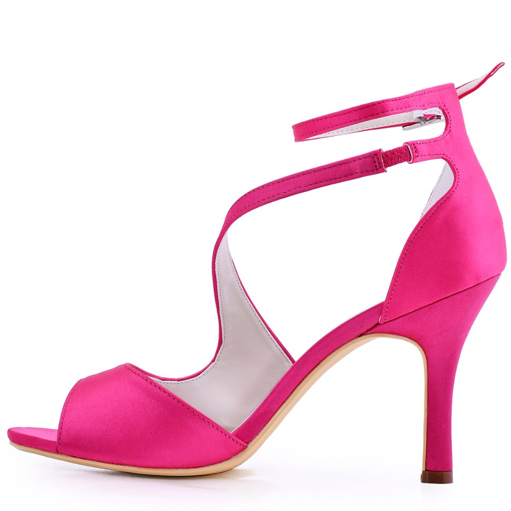 Aliexpress.com : Buy Women Sandals Hot Pink Ankle Strap High Heel ...