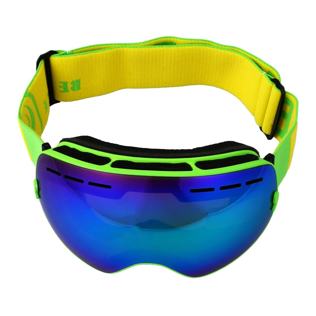 Лыжные очки двойной слой анти-туман Глаза зеленая рамка