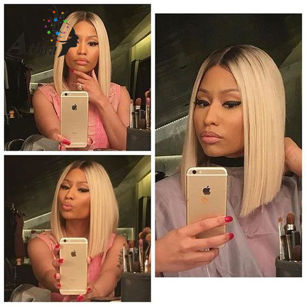 1b 613 Blonde Glueless Lace Front Human Hair Bob Wigs with Baby Hair Ombre Lace Wig