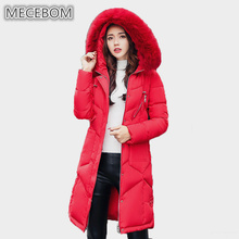 2017 Winter Fashion Snow Wear Large Fur Collar Women Parka Long Thick Slim Womens Coats And Jackets Outerwear 915c