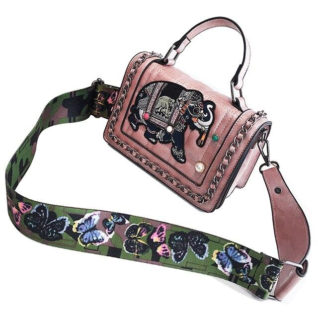Women Handbag Elephant Embroidery Straps Shoulder Bag for Girls Messenger  Bag Brand Style PU Leather Bags