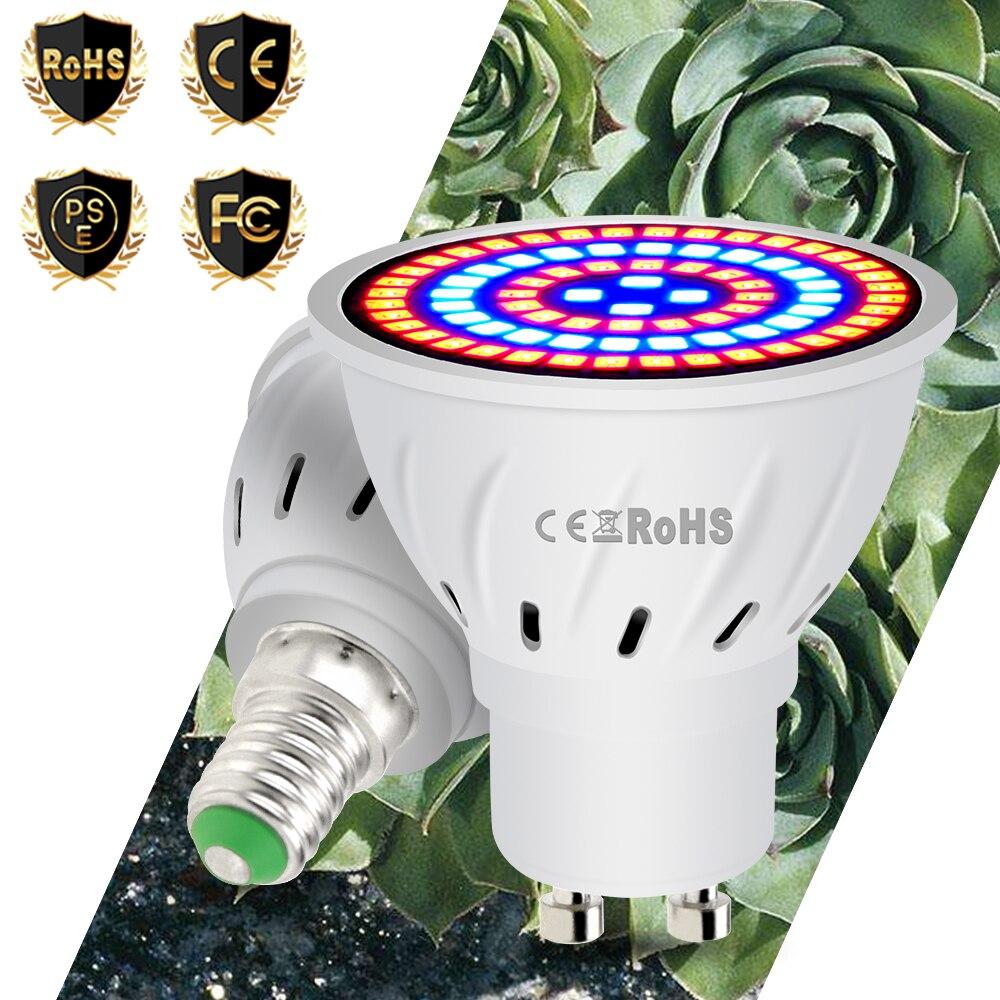 E27 Full Spectrum LED Grow Bulb E14 Led Fitolamp GU10 Plant Light  MR16 48 60 80leds Indoor Flower Seeds Growth Lamp B22 220V