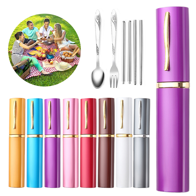3Pieces Fork Spoon Chopsticks Portable Outdoor Stainless Steel Travel Tableware Dinner Set Dinnerware Picnic Cutlery Vajilla