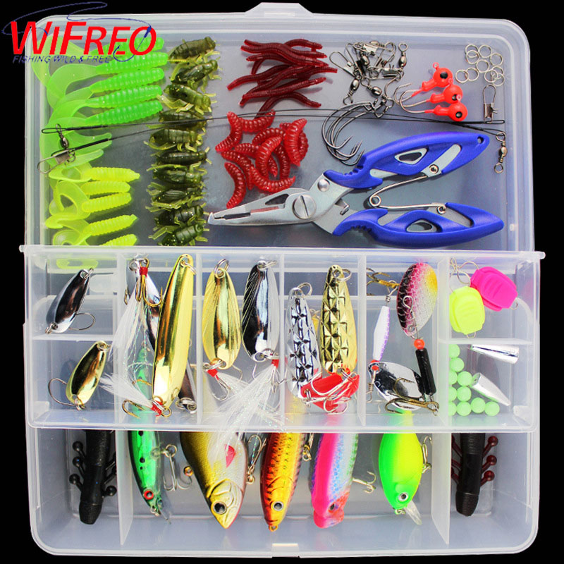 101pcs Mixed Minnow/Popper Spinner Spoon Metal VIB Lure Hooks Artificial Crankbait Bait Fishing Tackle Box Lure Kit Set fishing lure kit 108 pcs pack minnow popper crank spinner metal lure spoon swivel soft bait set combo tackle accessory box