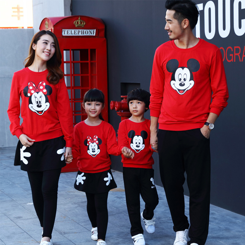 Fashion Family Long Sleeves Clothing Cartoon Mickey Dress Thickening Family Matching Outfits Children Baby Kids Girl Boy Clothes