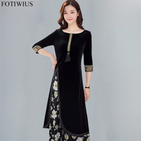 3XL Plus Size Dresses For Women High Quality Fashion Sequined Embroidery Vintage Velvet Dress Winter 2 Piece Vestidos Mujer 2018