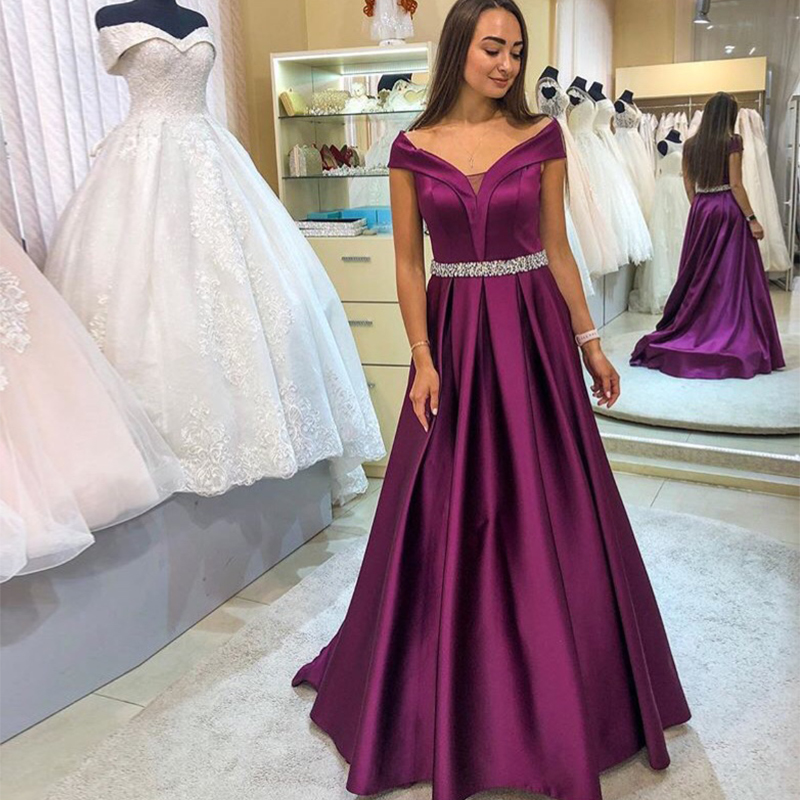 Off The Shoulder   Prom     Dresses   A-line Draped Skirt Long Purple   Prom   Gowns 2019 Beaded Sashes Sweep Train Women Formal Party Gowns