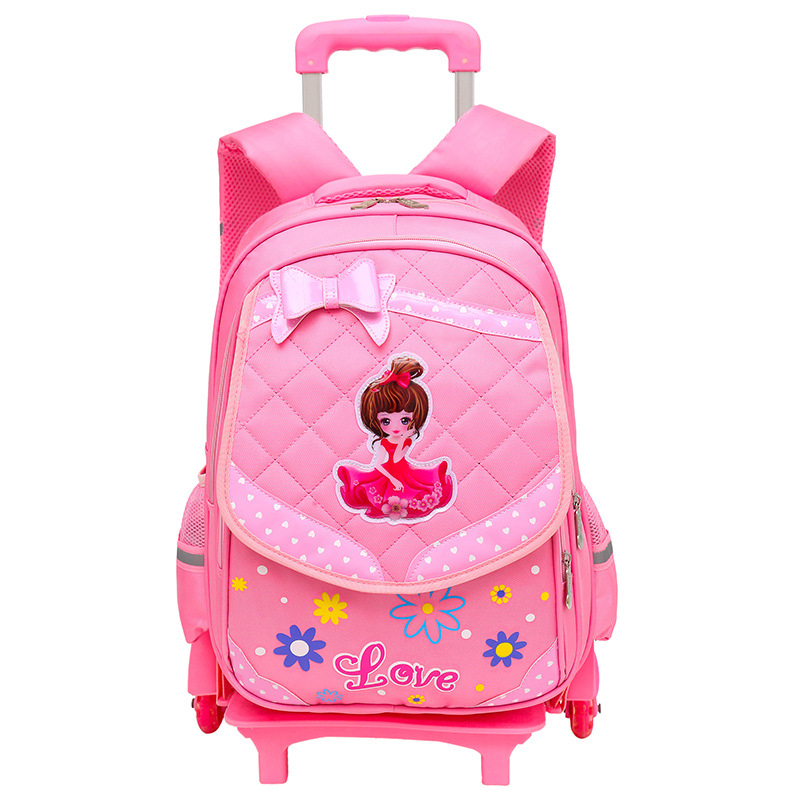 купить Children Trolley School Bag Wheeled School Bag Grils Kids cat printing School trolley Backpacks Bags Travel Luggage Backpack по цене 3394.44 рублей