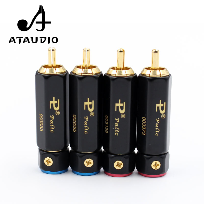 4pcs ATAUDIO Gold-plated HIFI RCA Plug Hi-end Self-locking A/V Connector For Diy Audio Cable