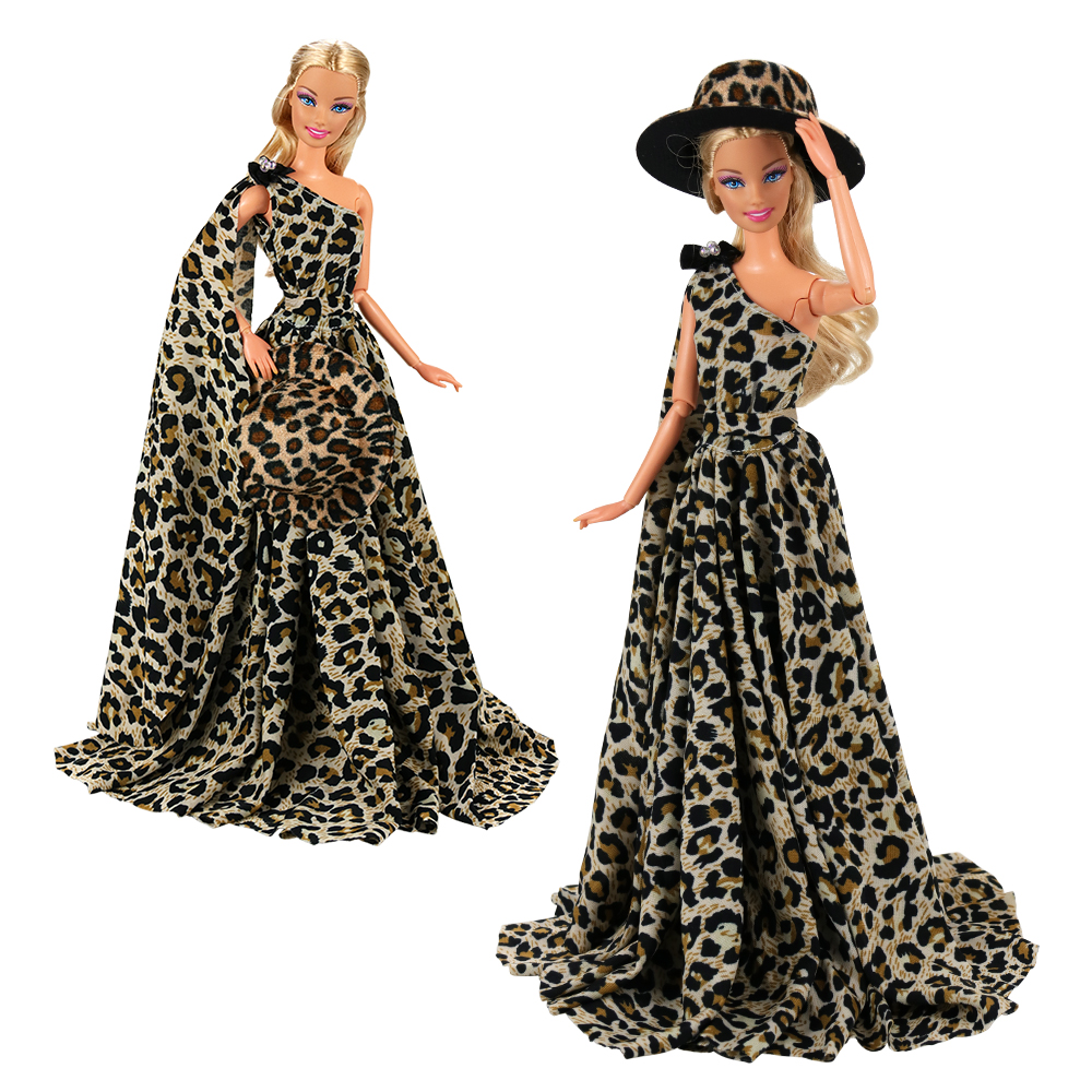 Fashion Evening Party Wedding Long Tail Doll Dress Outfit Dolls Accessories Clothes Things Items For Barbie Christmas Present