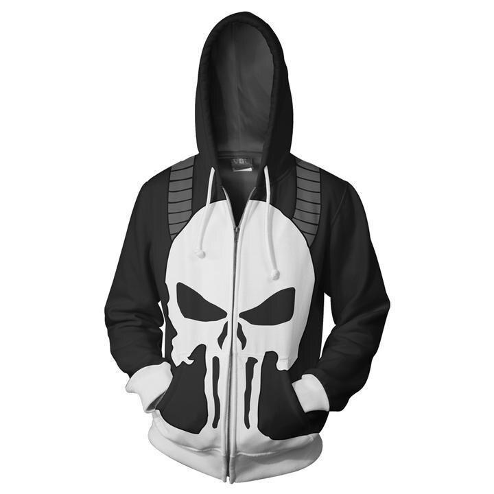Punisher Frank Castle Cosplay Costume Men's Hoodie Jacket Skull Printed Coat 3D Longsleeves Sweatshirt