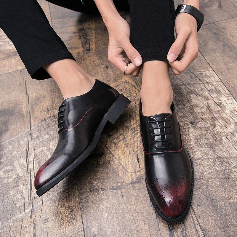 Vestido Brogue Couro Designer Escritório Genuíno Negócios Casamento Festa De red Black Sapatos 4 Up Italiano Lace Dos Homens Formal Oxfords qxwSRA