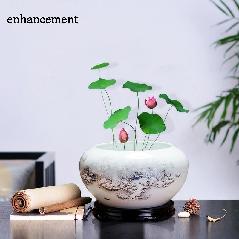 Jingdezhen Keramisk Goldfish Bowl Akvariumtank Vattenlilja Lotus Basin Sköldpadda Cylinderskrivning Penselbricka Fiskskål