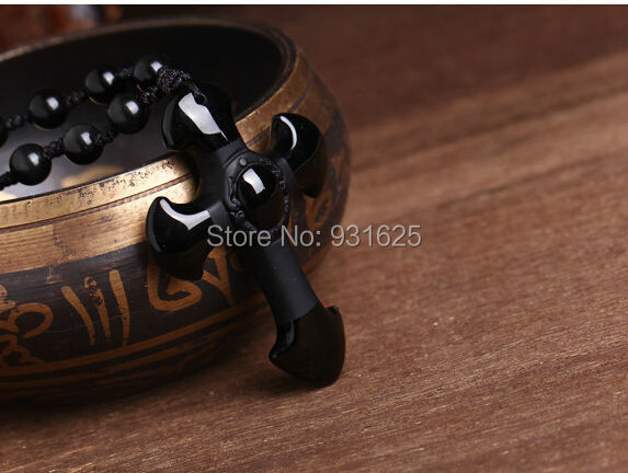 Drop Shipping Natural Black Obsidian Carved Cross Lucky pendant free beads necklace for woman man Hand carved Pendants Jewelry