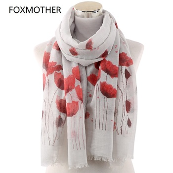 FOXMOTHER New Poppy Print Long Scarf Beach Wrap Ladies Stole Shawl Poppy Scarf Floral Echarpes Foulards Femme Gifts casual poppy print voile scarf