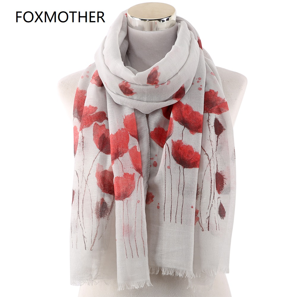 FOXMOTHER New Poppy Print Long   Scarf   Beach   Wrap   Ladies Stole Shawl Poppy   Scarf   Floral Echarpes Foulards Femme Gifts
