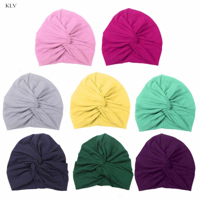 KLV bonita Gorra de algodón para bebé turbante suave nudo verano gorro sombrero recién nacido para bebés niñas accesorios para el cabello 8 colores
