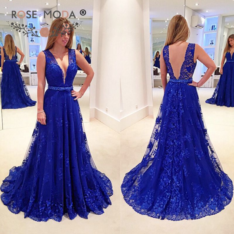 Deep V Neck Sleeveless Royal Blue Lace   Evening     Dress   with Sash Sexy Low V Back Party   Dress   Custom Made