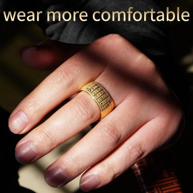 Buddhism Scriptures Supernatural Amulet Letter Men Wedding Rings Mens Signet Ring Stainless Steel Gold Silver Ring Bague Homme