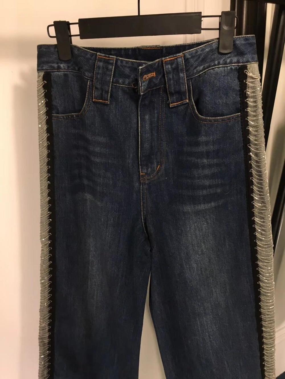 Mode Élégant Lâche Nouvelle Perles Qualité Longue Dame Supérieure 2019 Noir Pantalon Décontracté Jeans Femmes AUTHxn