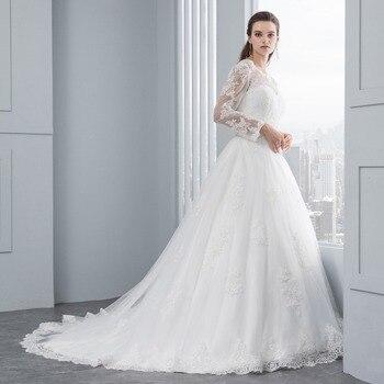 Long Sleeve Lace Appliques Low Back Wedding Dress A Line Wedding Dress